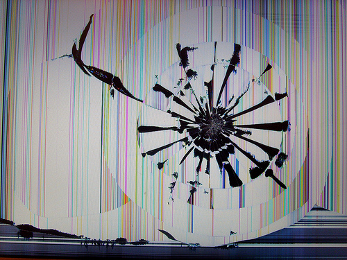 Smashed Macbook Pro screen Yeah Ouch A friend of mine h 500x375