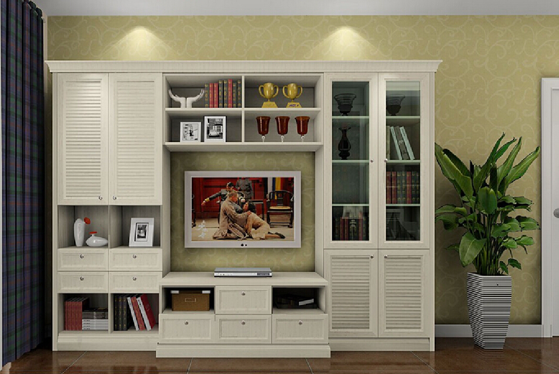 Cabinet wallpaper and plaid curtains Download 3D House 1121x751