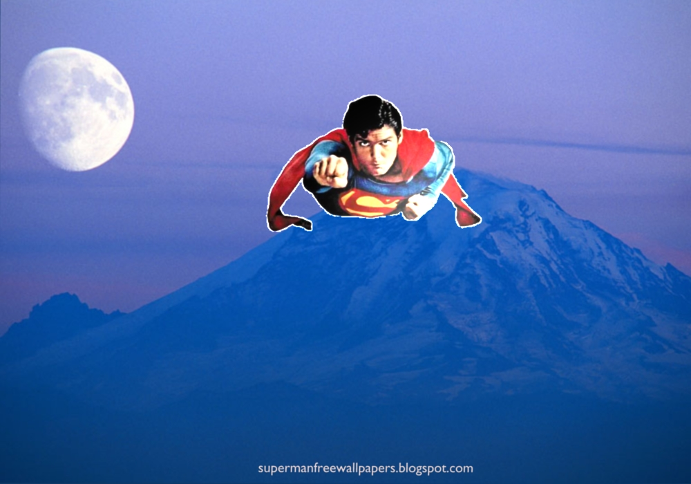 wallpaper Wallpaper of Superman super sonic speed flying at Blue Moon 1000x700
