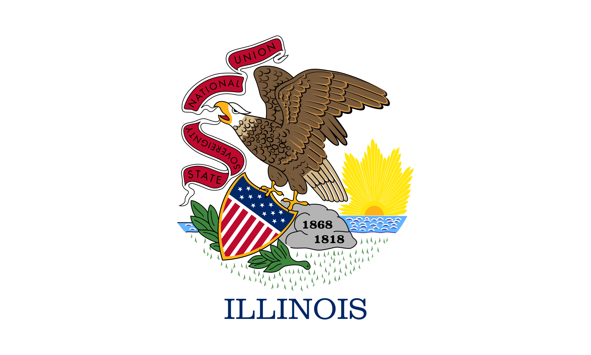 Flag and seal of Illinois   Wikipedia 2000x1200
