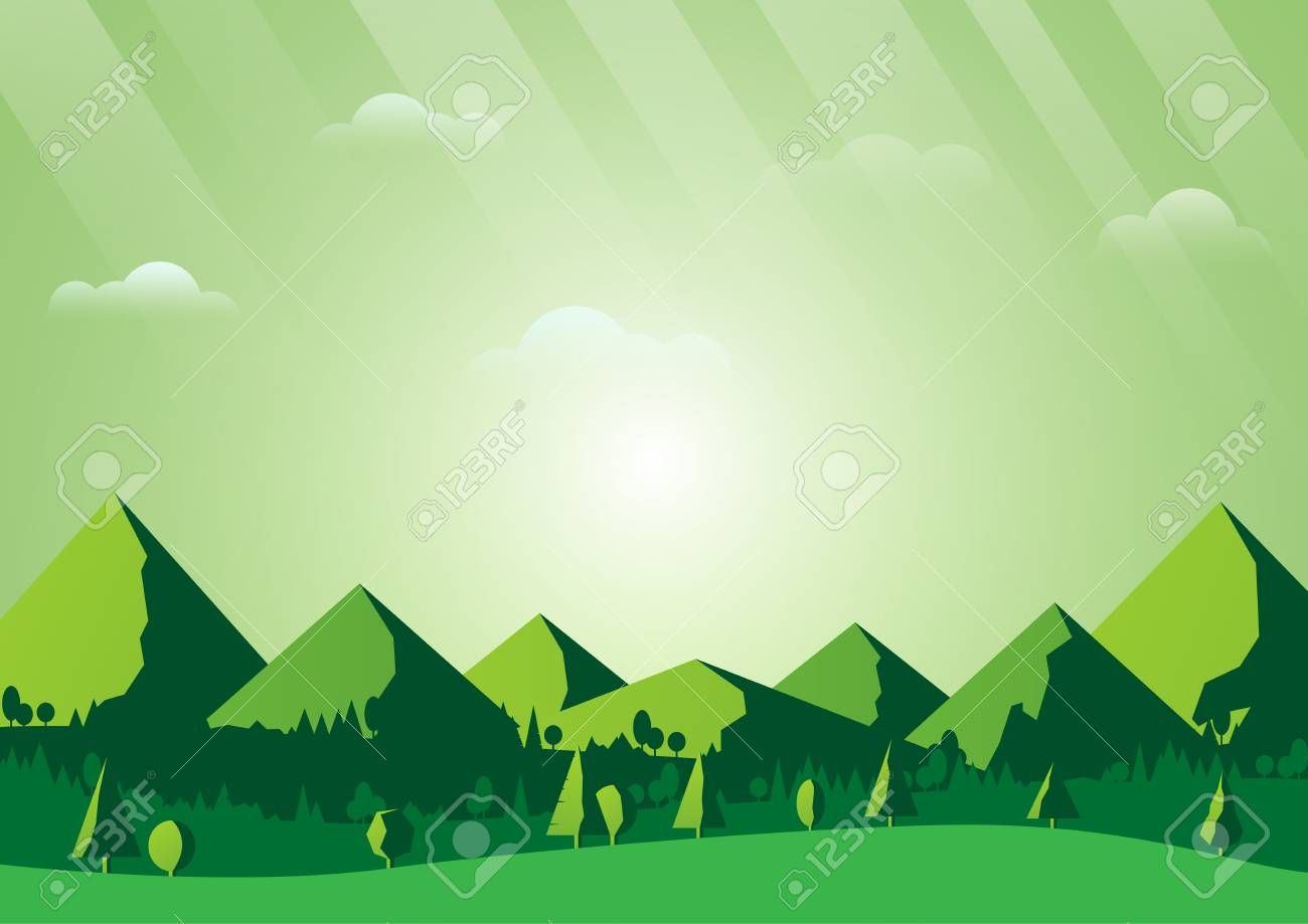 Green Nature Foest And Mountains Landscape Scene Background 1300x919