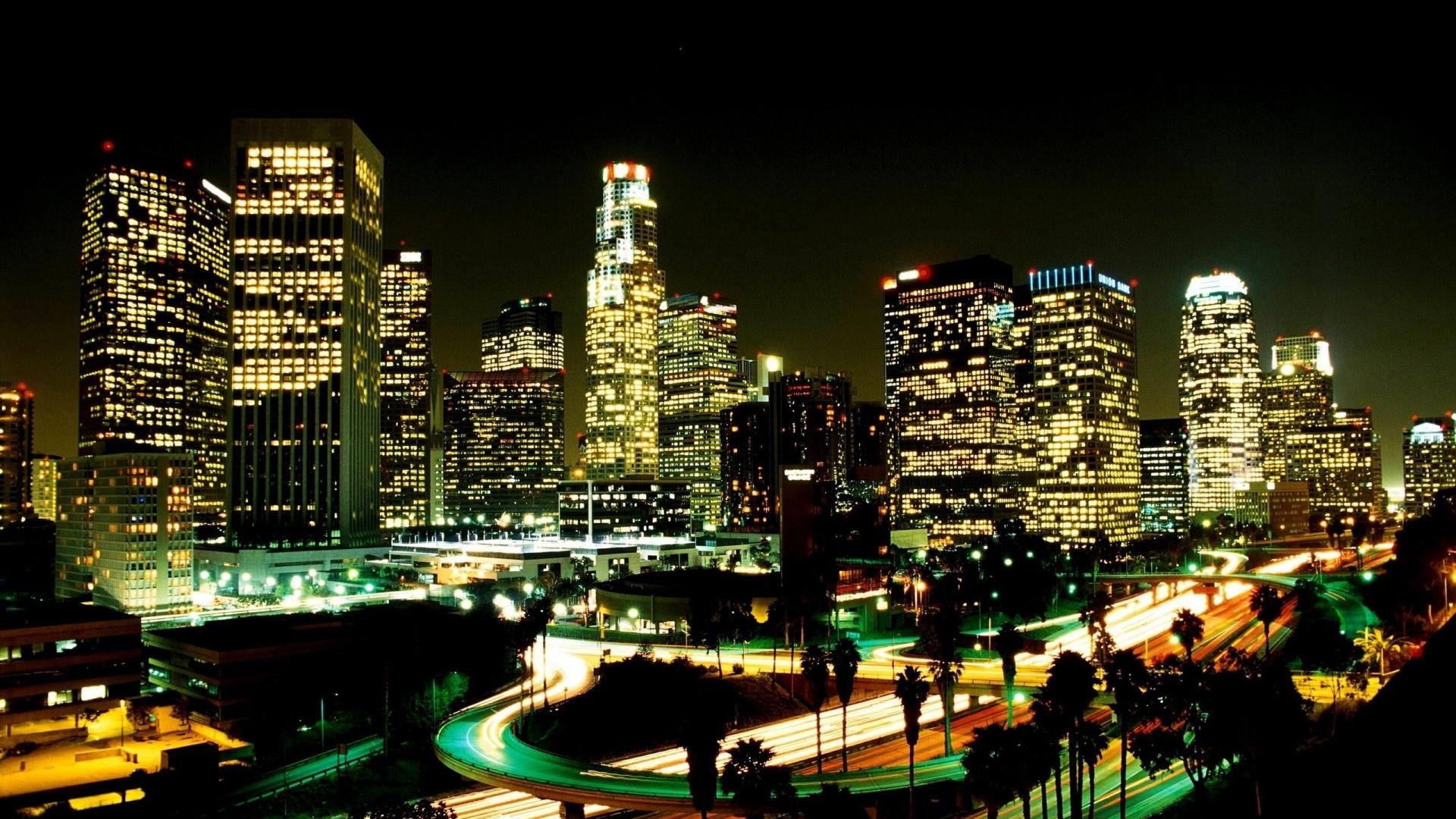 los angeles city night street skyscrapers Full HD 1080p HD 1920x1080