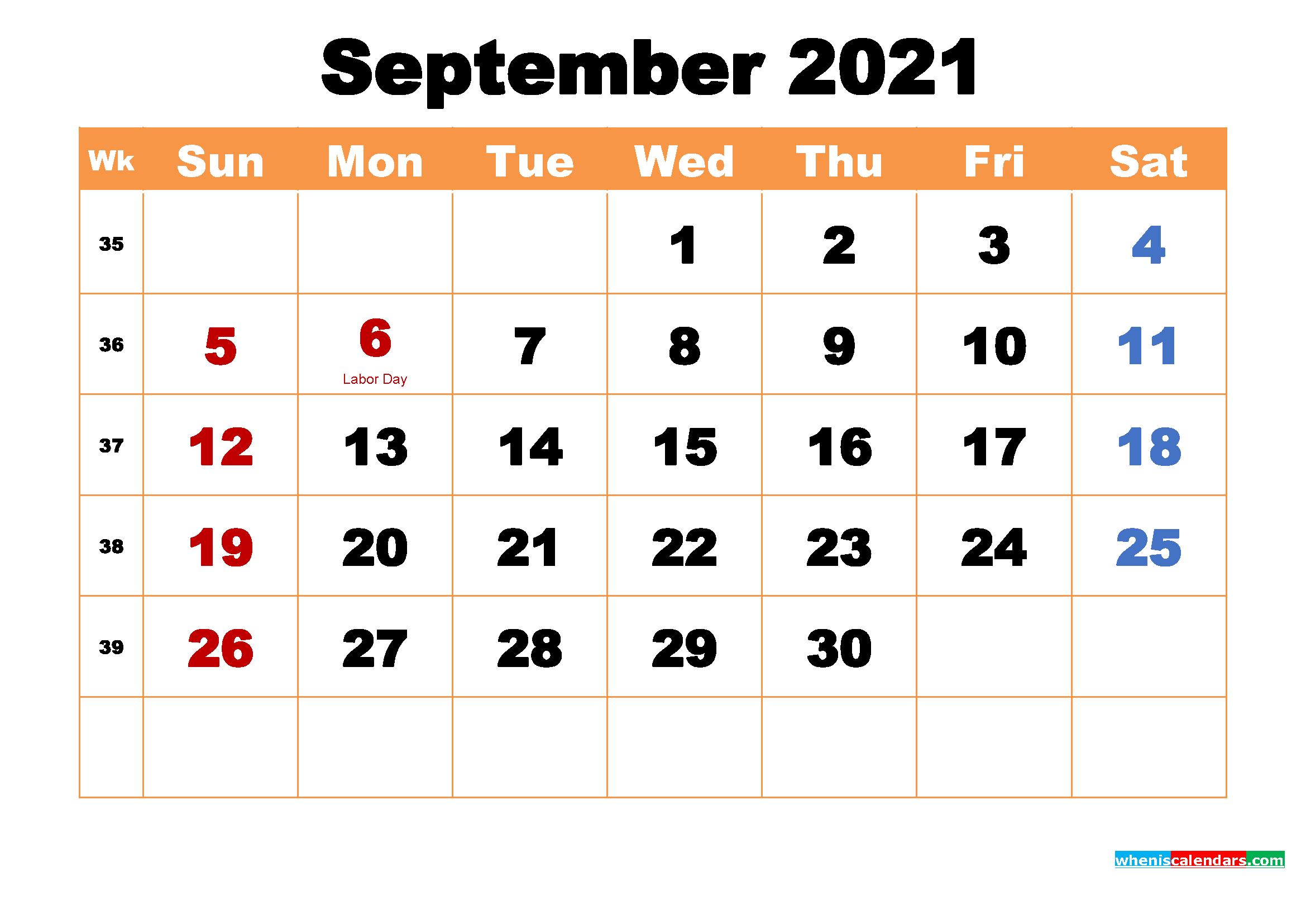 September 2021 Calendar Wallpaper High Resolution 2339x1654