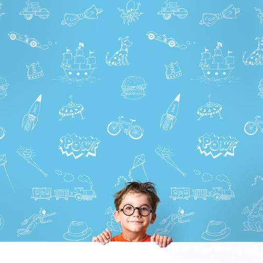 Doodle BlueWhite Removable Wallpaper   WallCandy Arts 540x540