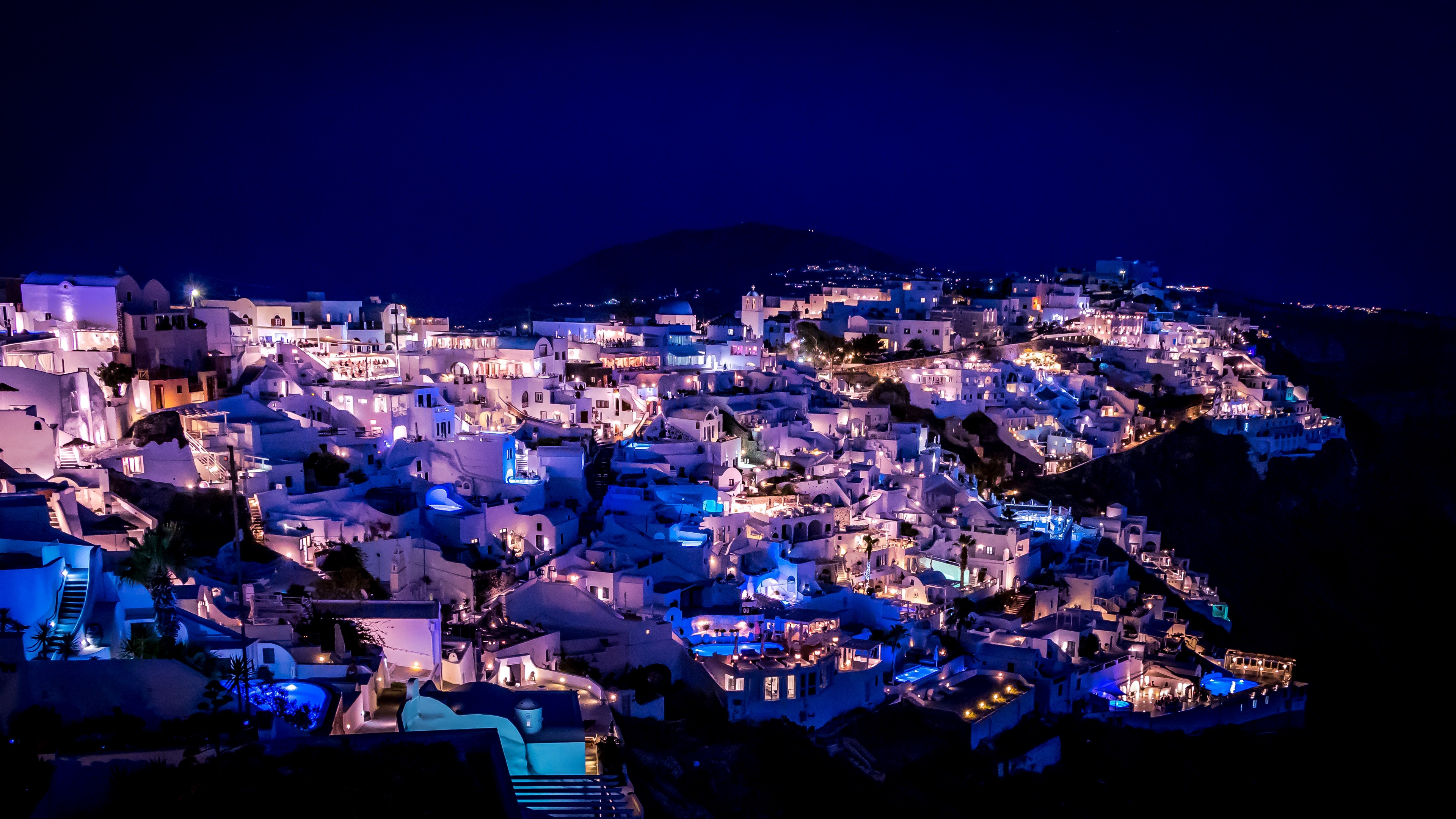 Download wallpaper 3840x2160 santorini greece night city 3840x2160