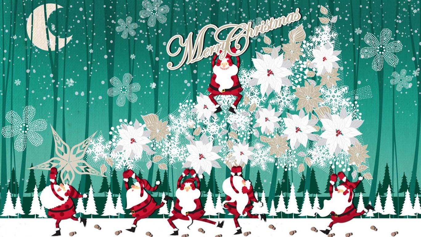 44 Free Christmas Desktop Wallpaper 1366x768 On