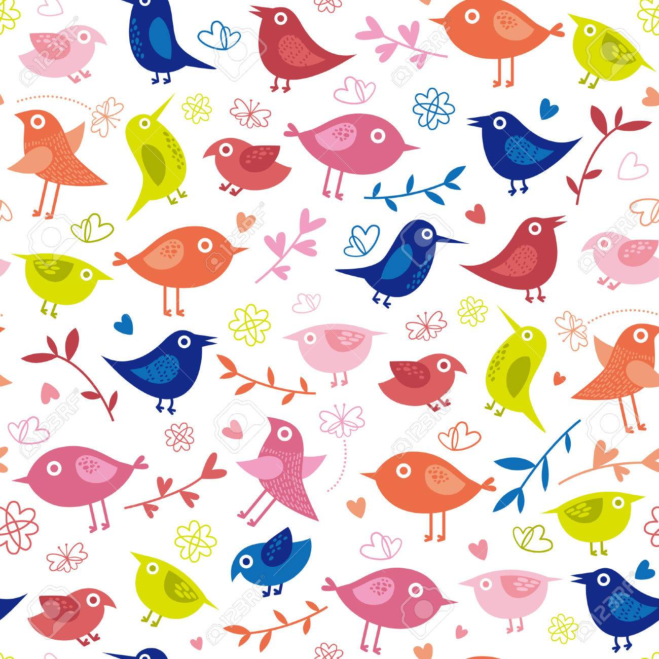 Cute Bird Background Royalty Cliparts Vectors And Stock 1300x1300