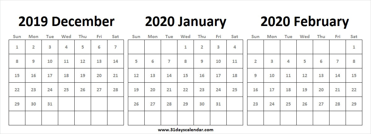 2019 December 2020 January February Calendar Wallpaper 2020 Year 1198x433