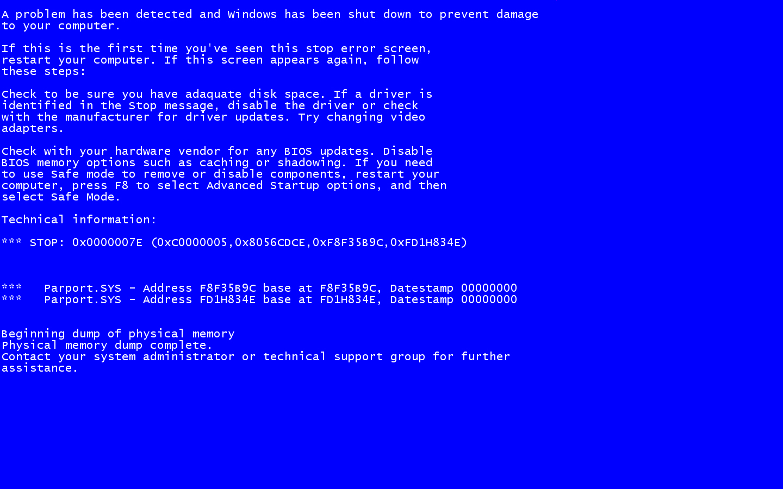 Blue Screen of Death   Windows XP BSOD 1440x900
