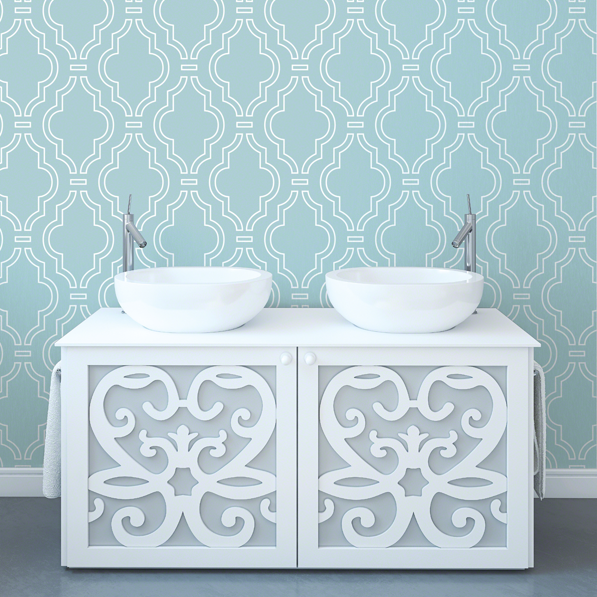 Quatrefoil AquaWhite Removable WallPaper   WallCandy Arts 1200x1200