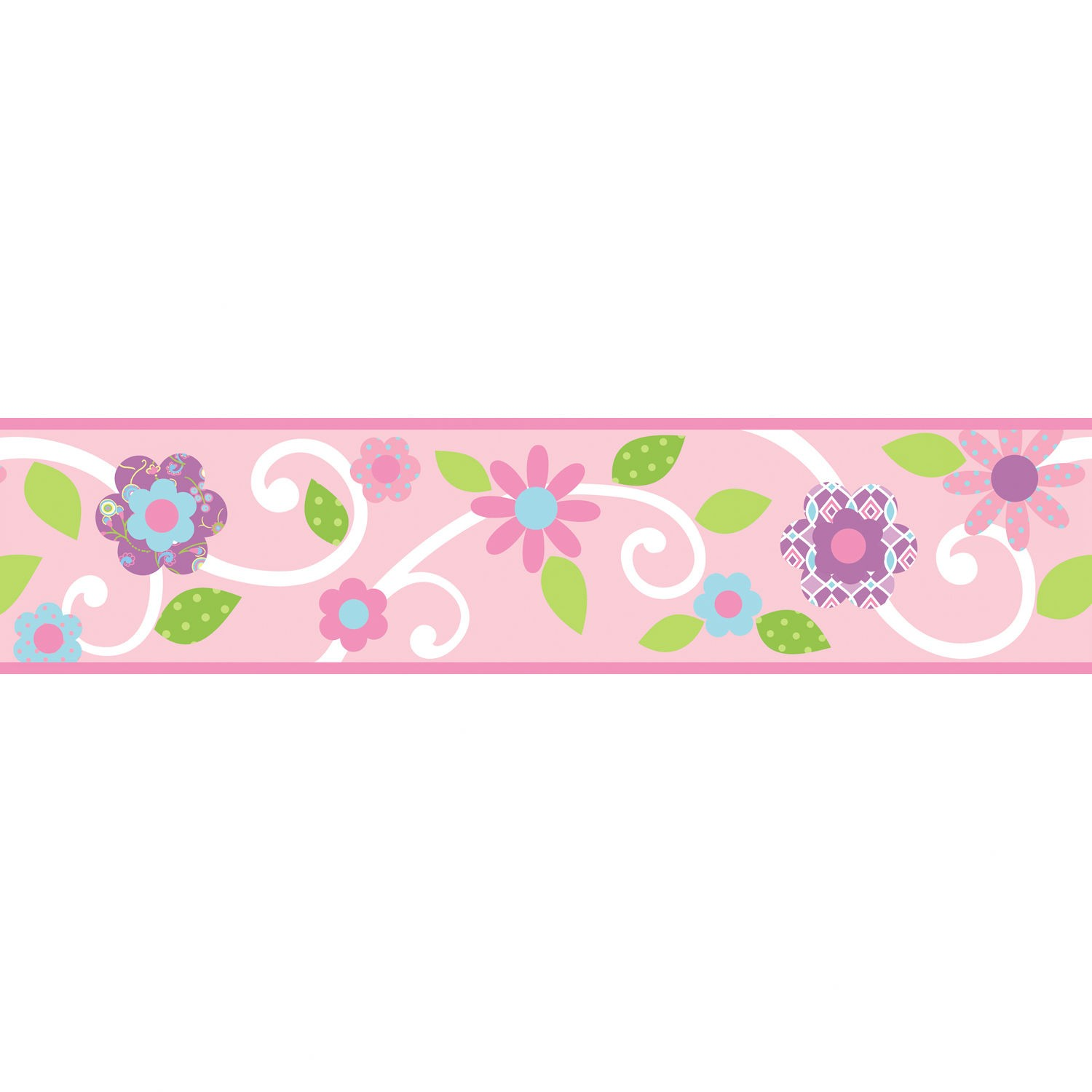 Room Mates Studio Designs Scroll Floral Wall Border in Magenta 1500x1500