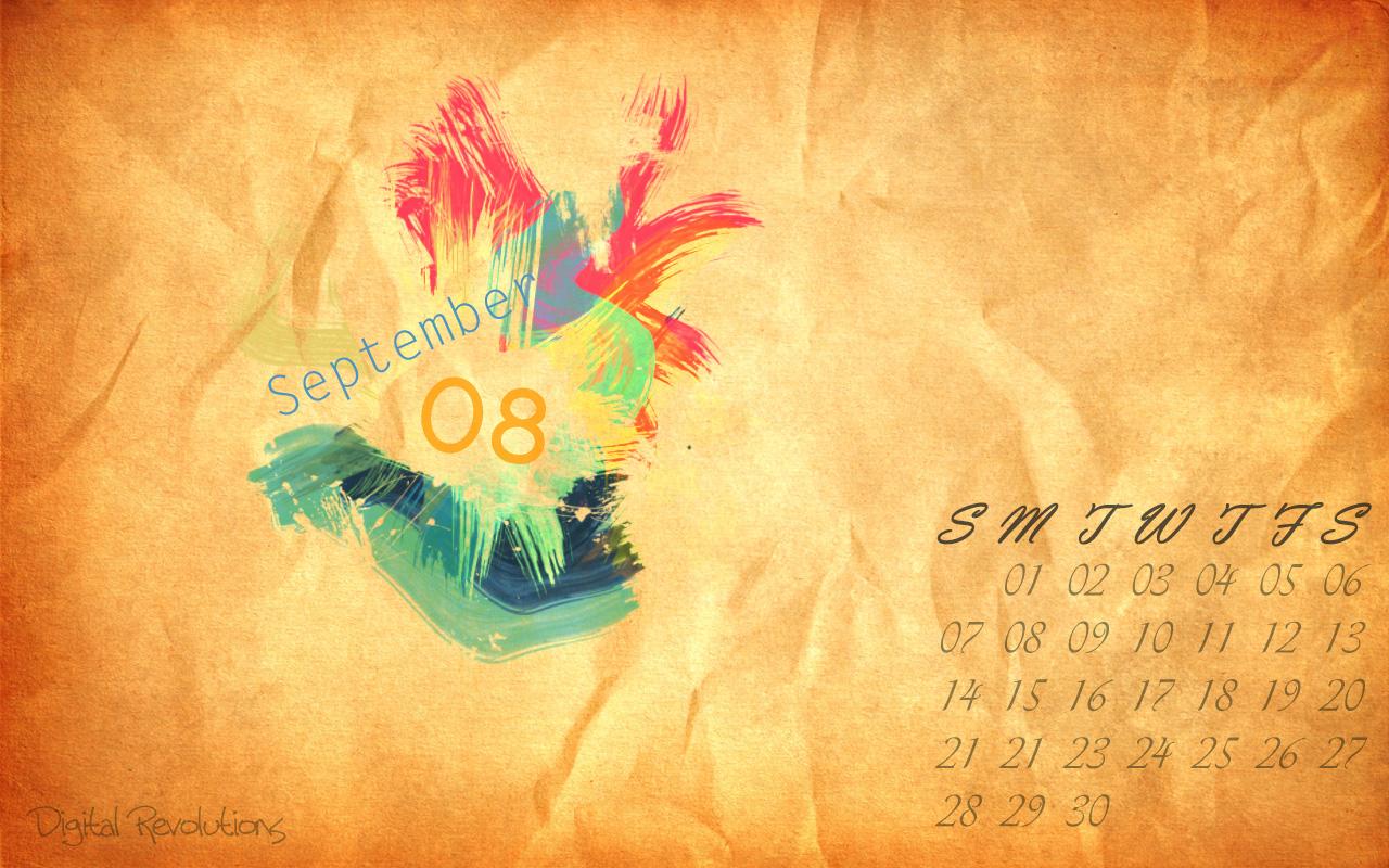 September 2008 Calendar Desktop Wallpaper Digital Revolutions 1280x800