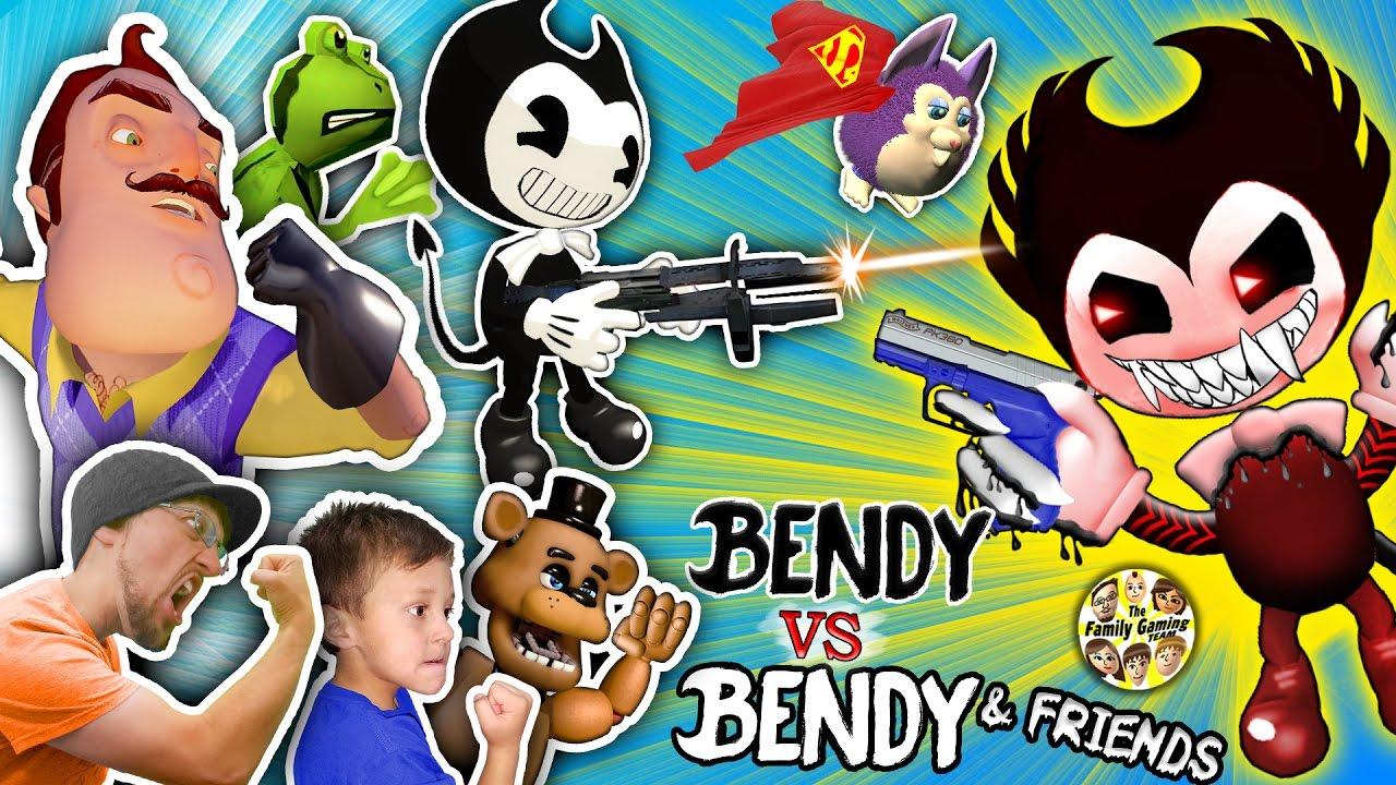 BENDY THE INK MACHINE vs HELLO NEIGHBOR FGTEEV AMAZING FROG 1280x720