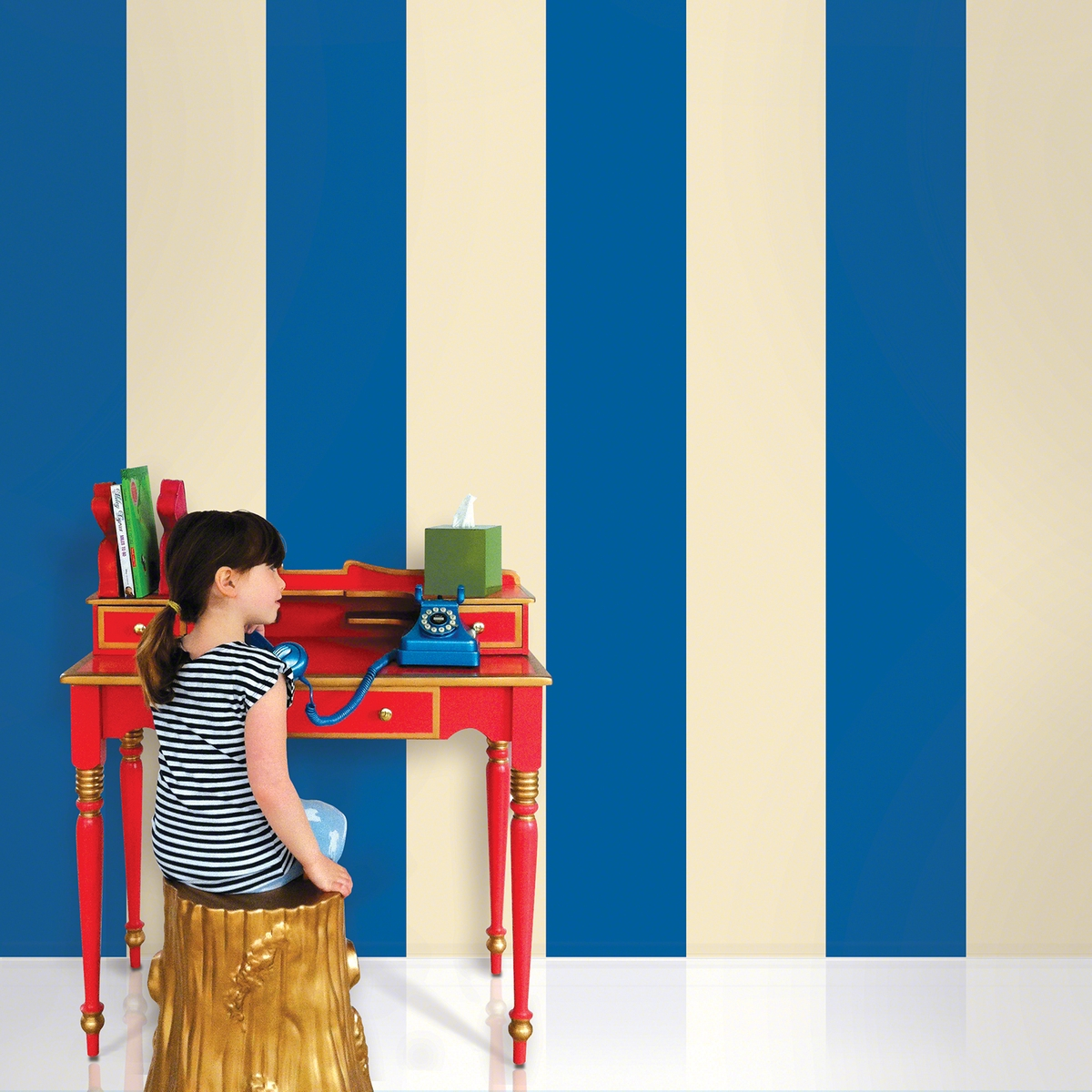 Stripes BlueCream Removable Wallpaper   WallCandy Arts 1200x1200
