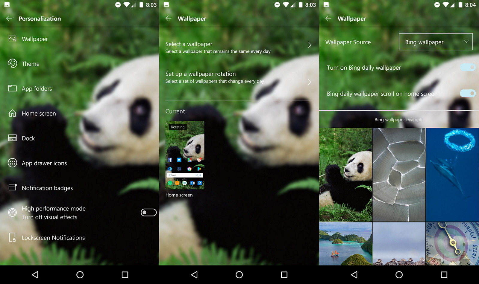 How to change wallpaper using Microsoft Launcher on Android 1600x950