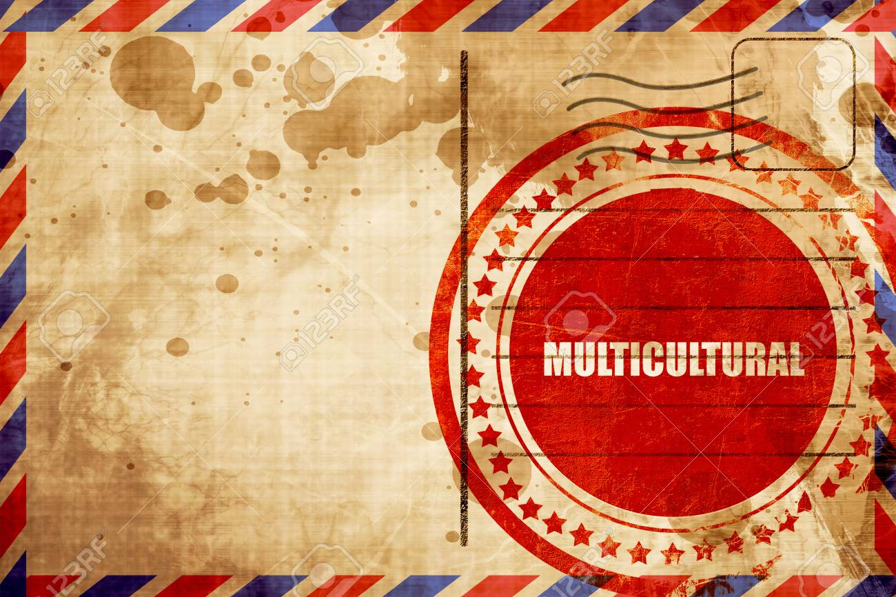 Multicultural Red Grunge Stamp On An Airmail Background Stock 1300x866