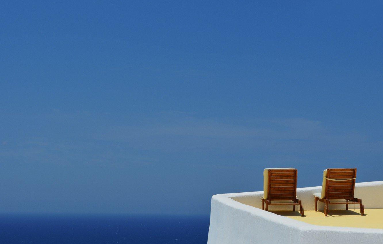 Wallpaper sea summer the sky heat vacation chair Santorini 1332x850