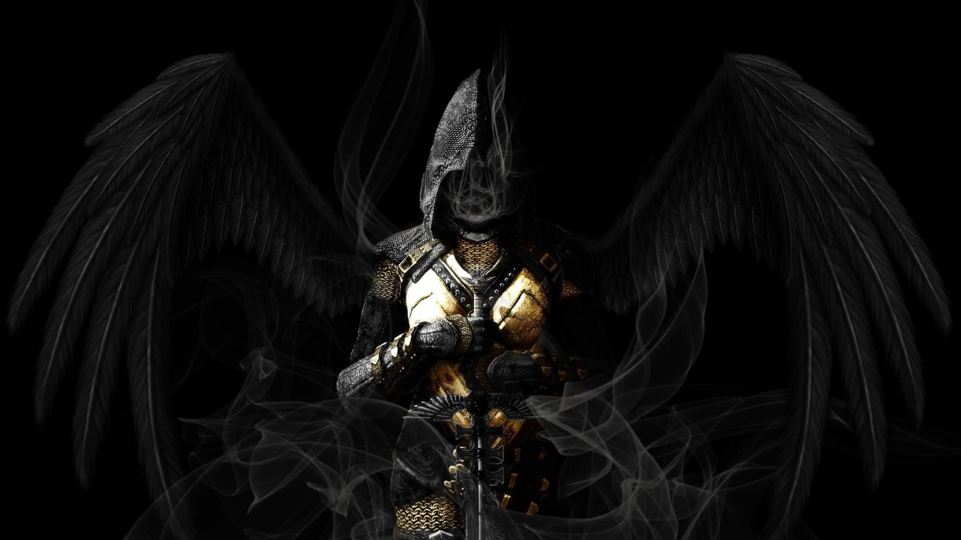 Angel Wings Black Sword gothic dark reaper grim angels wallpaper 1920x1080