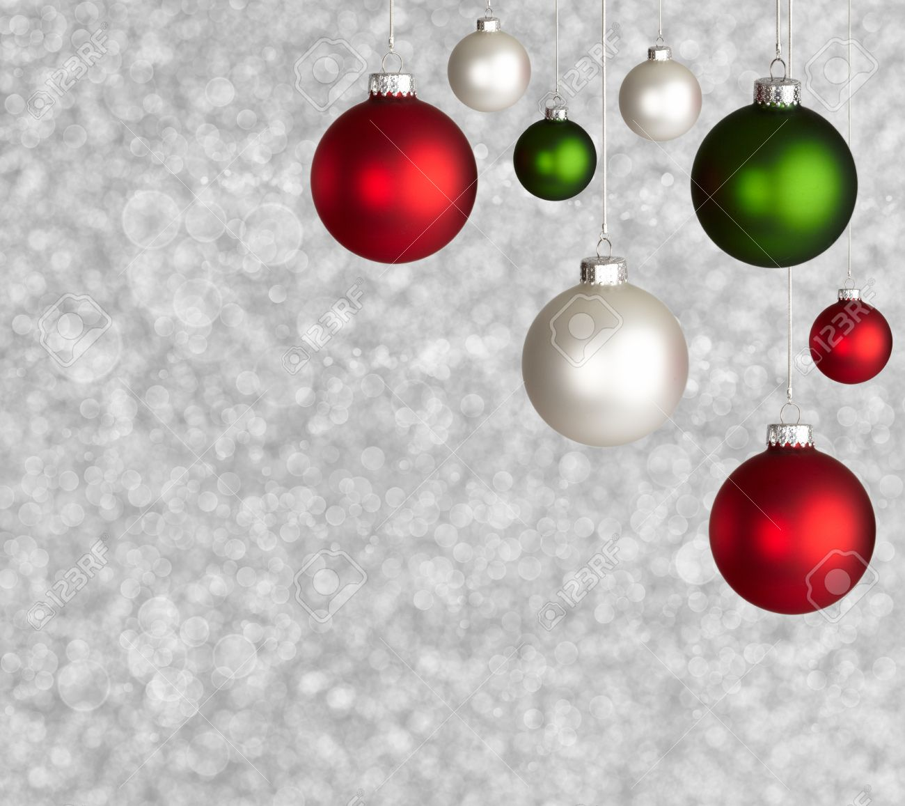 White Red And Green Christmas Ball Ornaments On Sparkely Silver 1300x1157