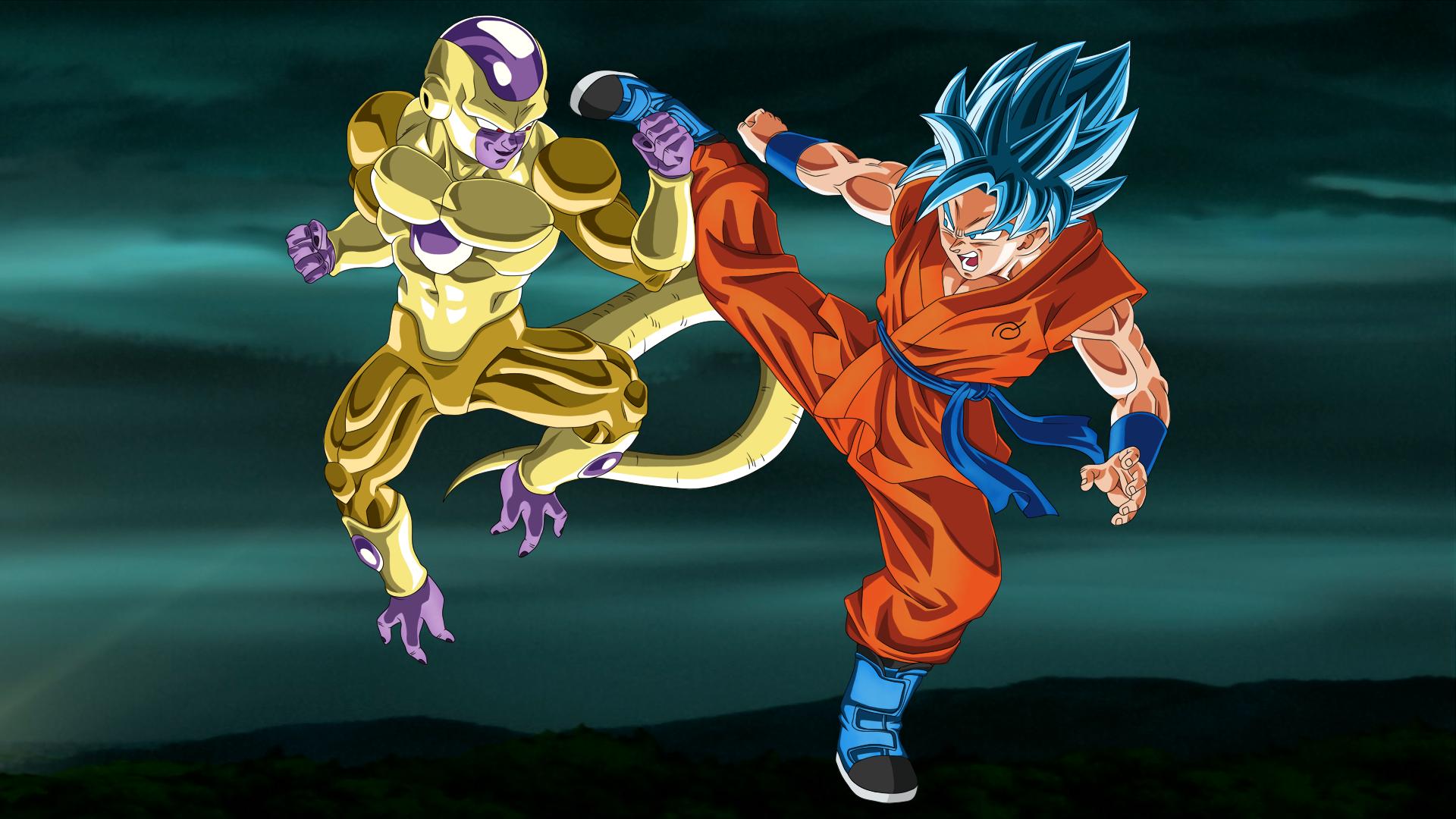 Gold Frieza Vs SSGSS Goku No Aura 1920x1080 By EymSmiley