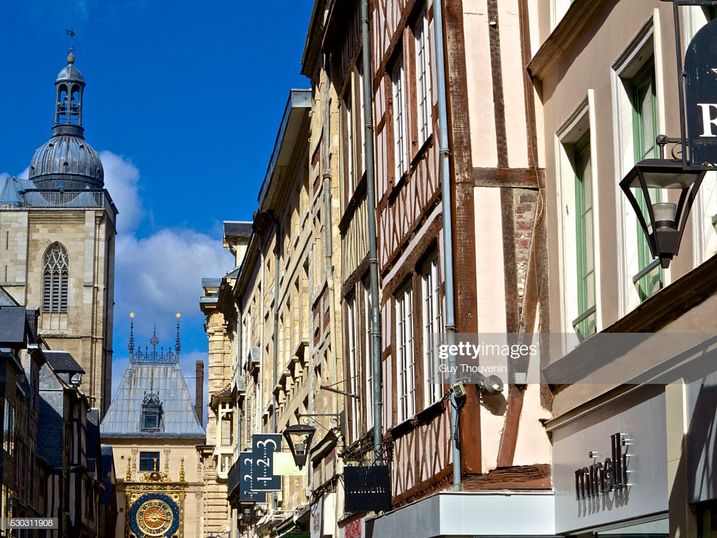Gros Horloge Street And Half Timbered Houses Rouen Normandy France 1024x768
