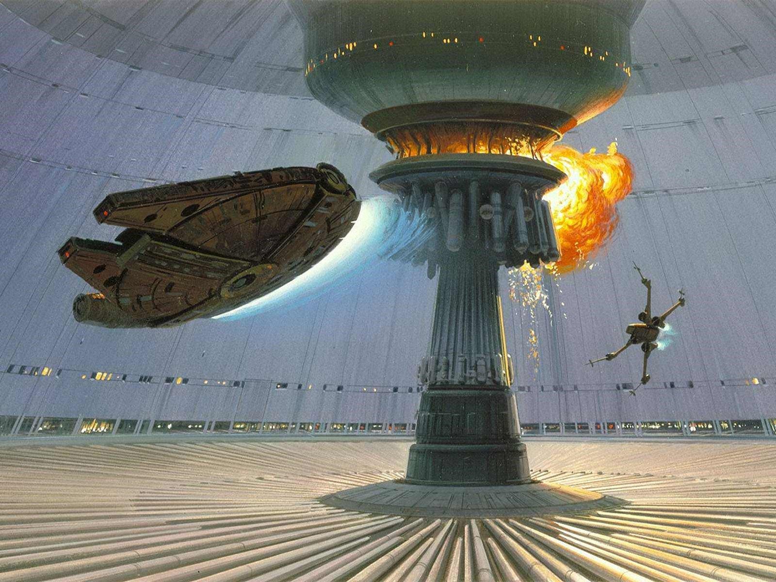 Star Wars explosions Death Star Millennium Falcon X Wing concept art 1600x1200