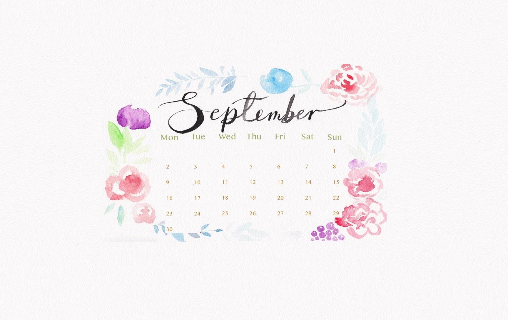 September 2019 Desktop Background Calendar Wallpaper 1728x1090