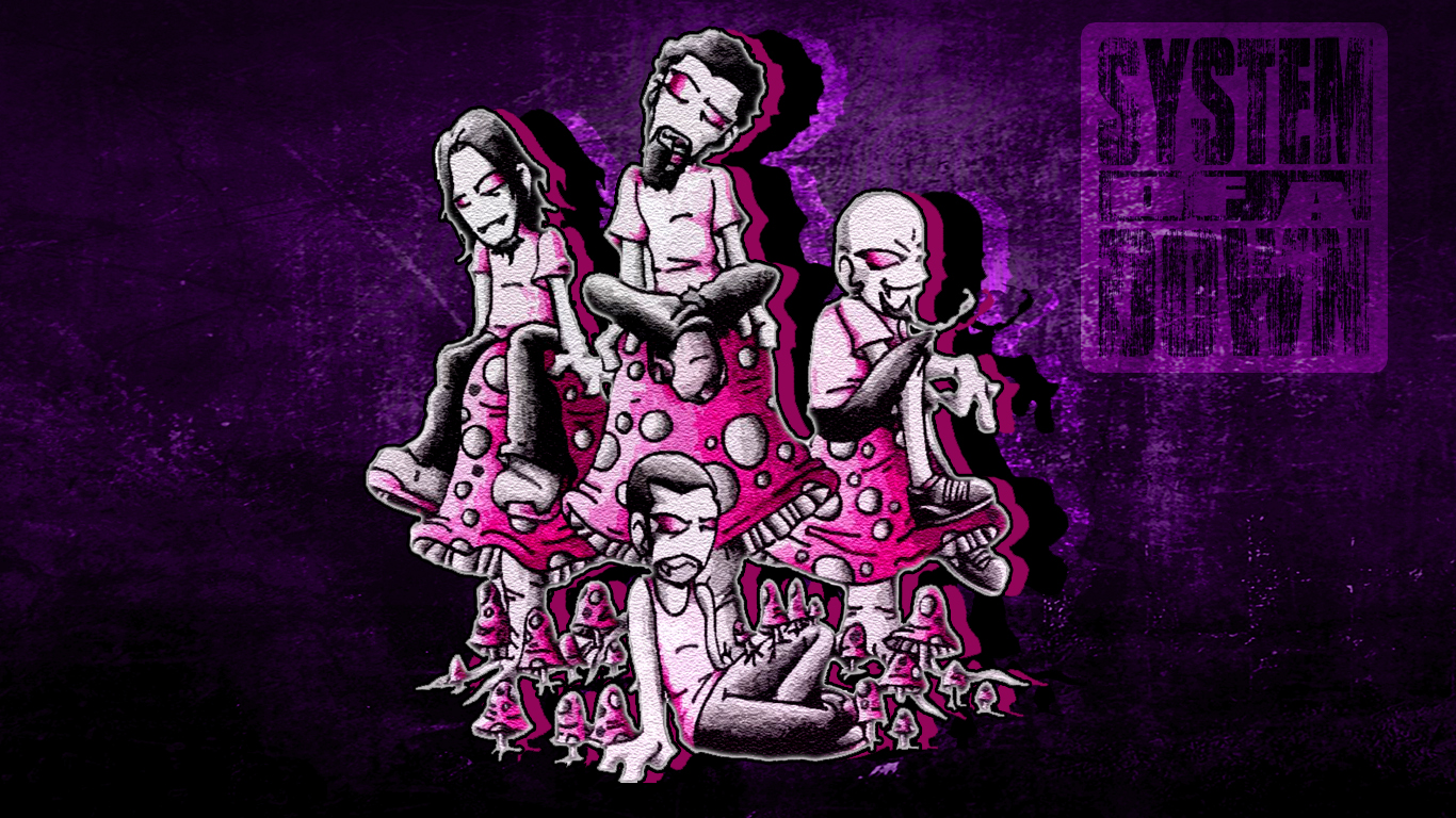 Wallpaper   System of a Down Mushroom Cult by isaacklein 1366x768