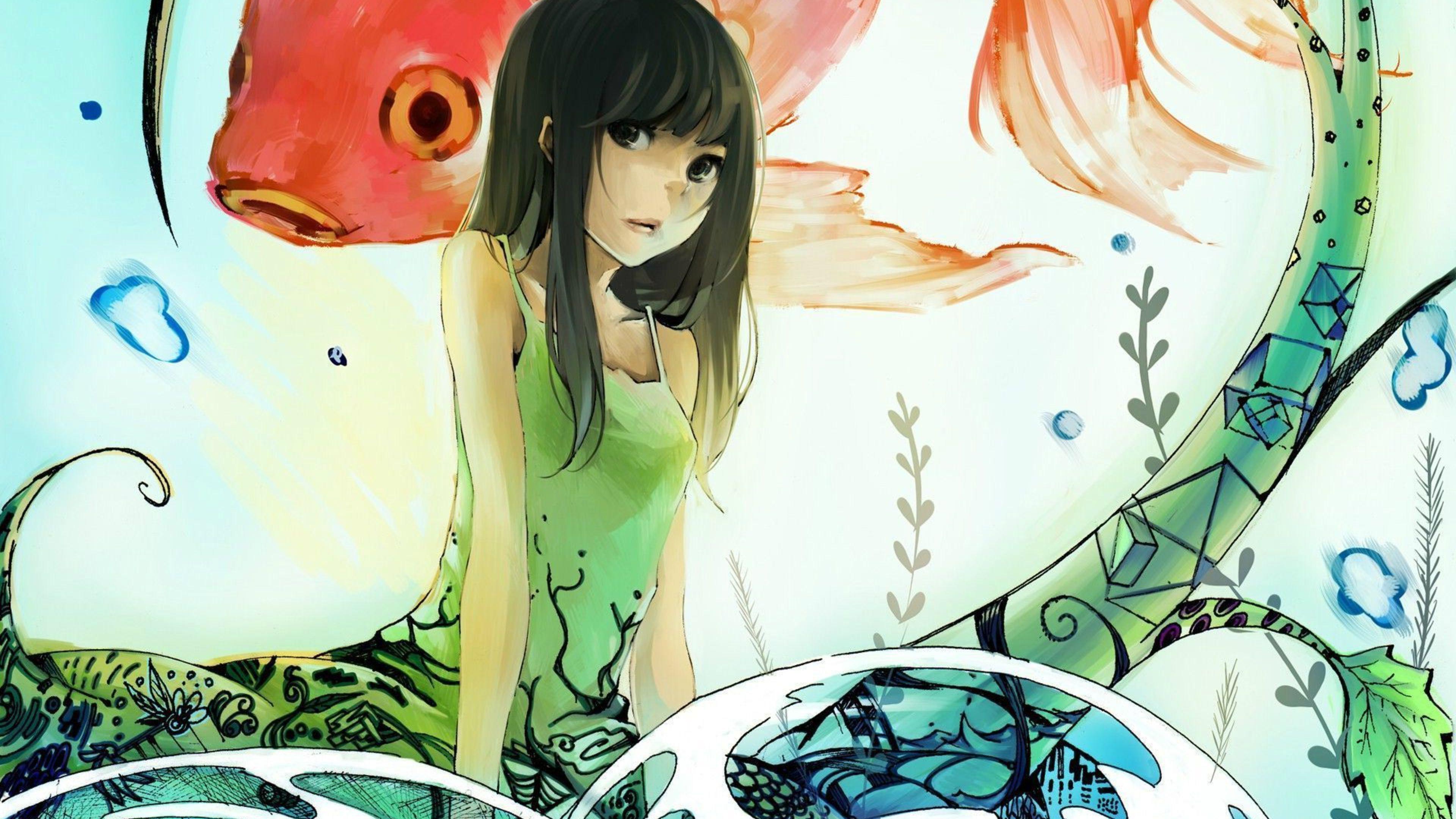 Anime Girl And Koi Fish 4K Wallpaper 3840x2160