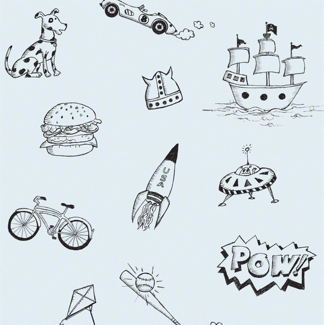 Doodle Removable Wallpaper Blue and Black   Wallpaper   by WallCandy 638x640