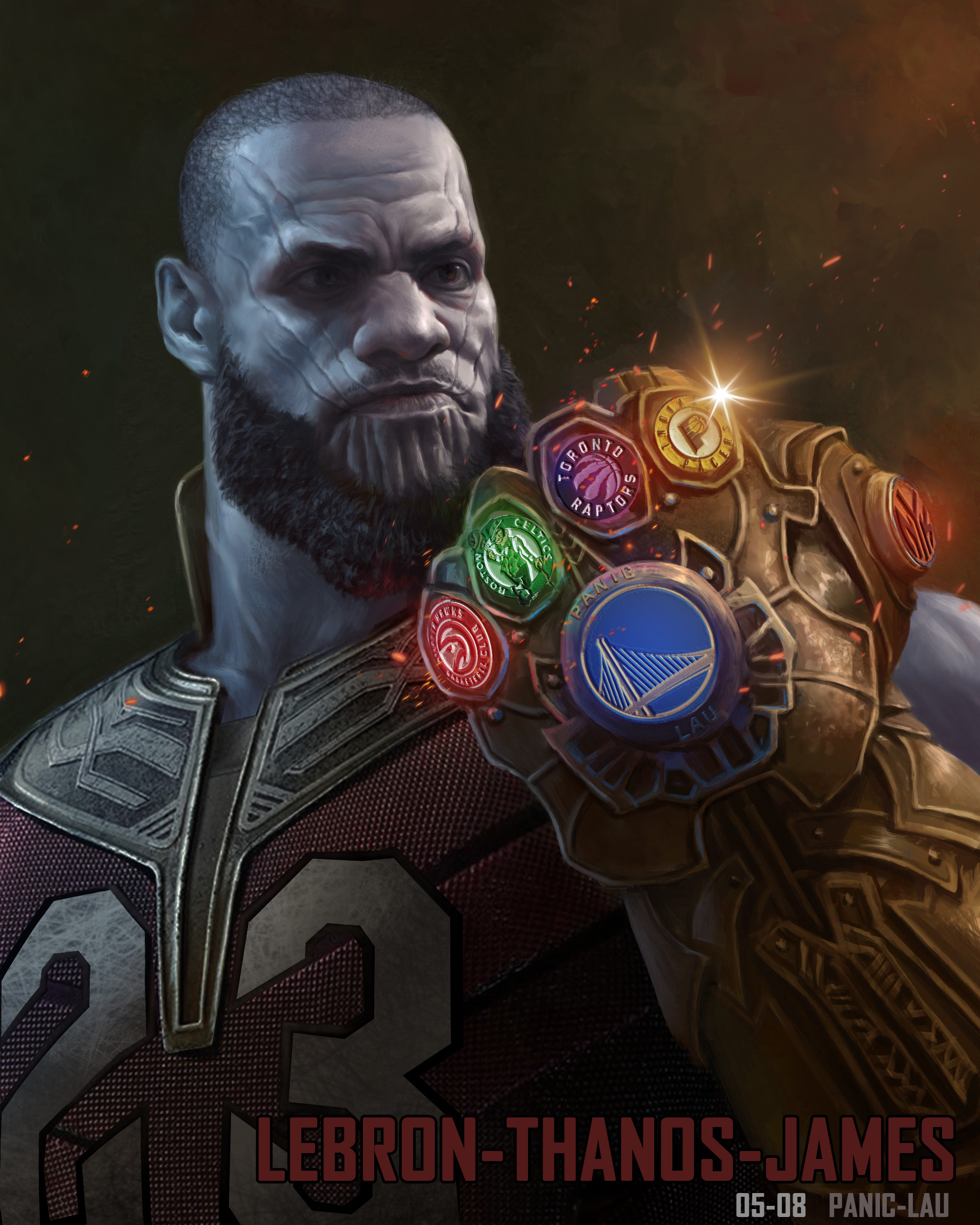 Lebron James as Thanos Fan Art by Panic Lau 4158 Wallpapers and 1841x2301