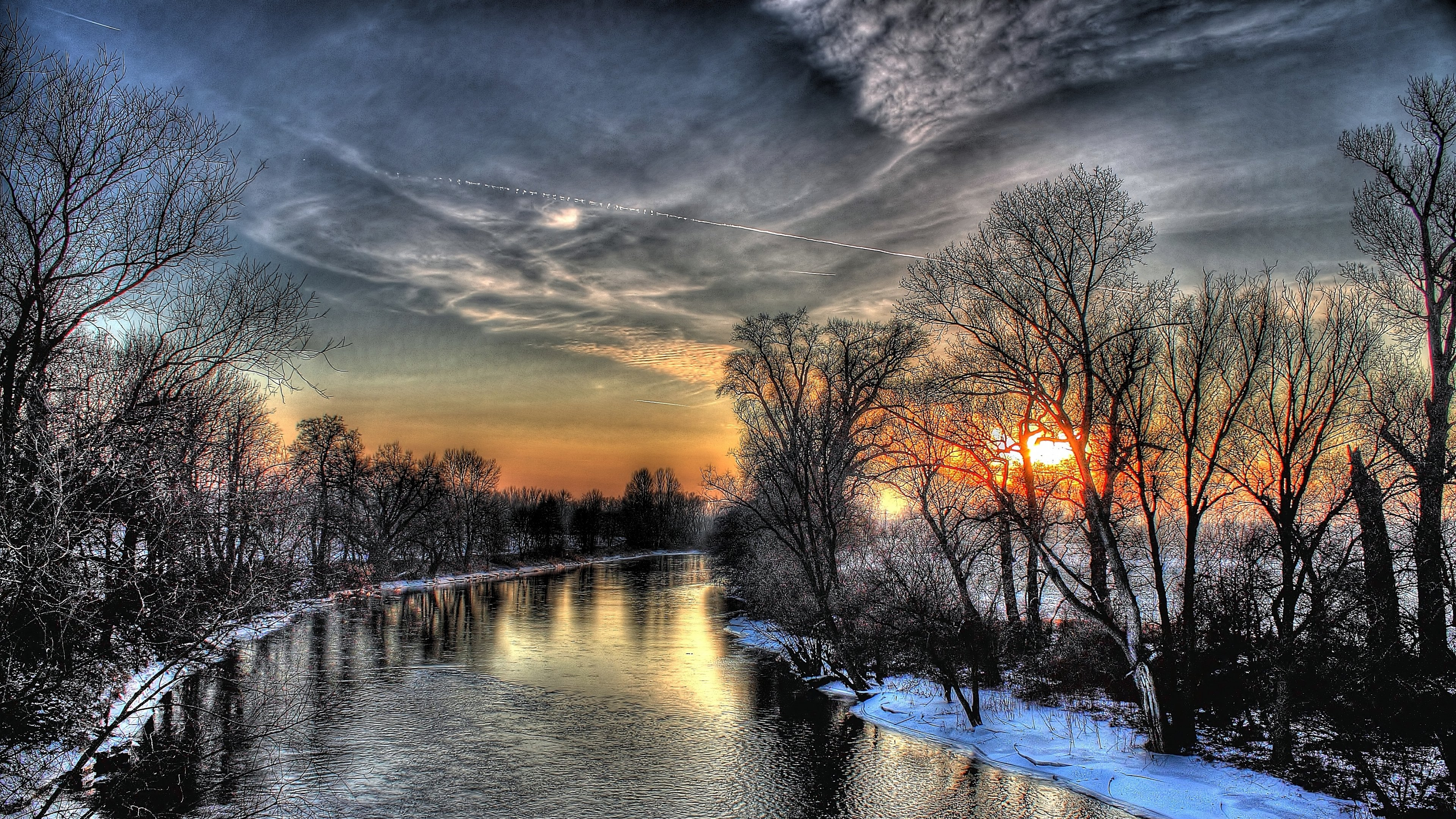 Download Wallpaper 3840x2160 sunset winter river sky hdr 4K Ultra 3840x2160