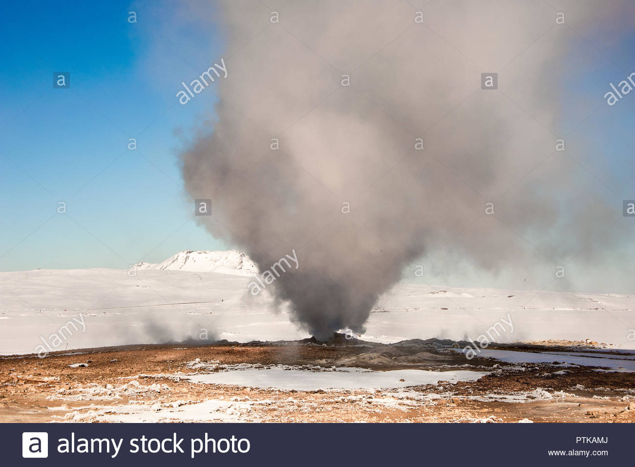 Giant smoke plume rises from a fumarole in Hverir geothermal area 1300x955