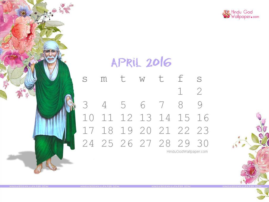 Desktop Calendar Wallpaper April 2016 1024x768