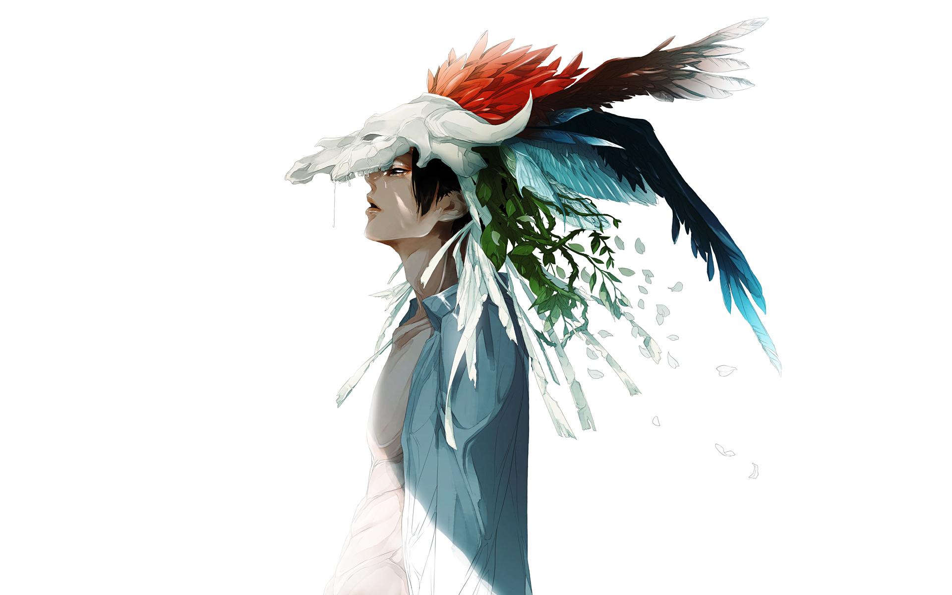 Anime Boy Cool Feather Sadness Art Watercolor Wallpaper 1920x1200