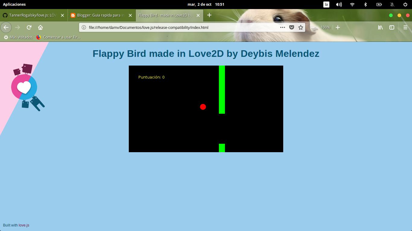 Ejemplo de juego Flappy Bird en Love2D by Damv 1366x768