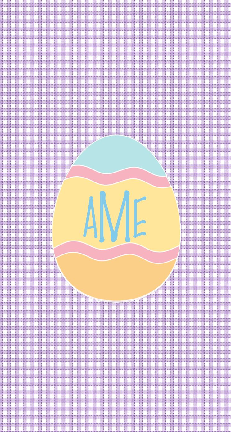 Monogrammed Easter egg iphone wallpaper by Haley H Made with 744x1392
