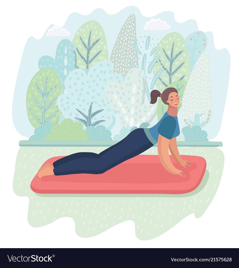 Woman posture yoga with park background Royalty Vector 963x1080