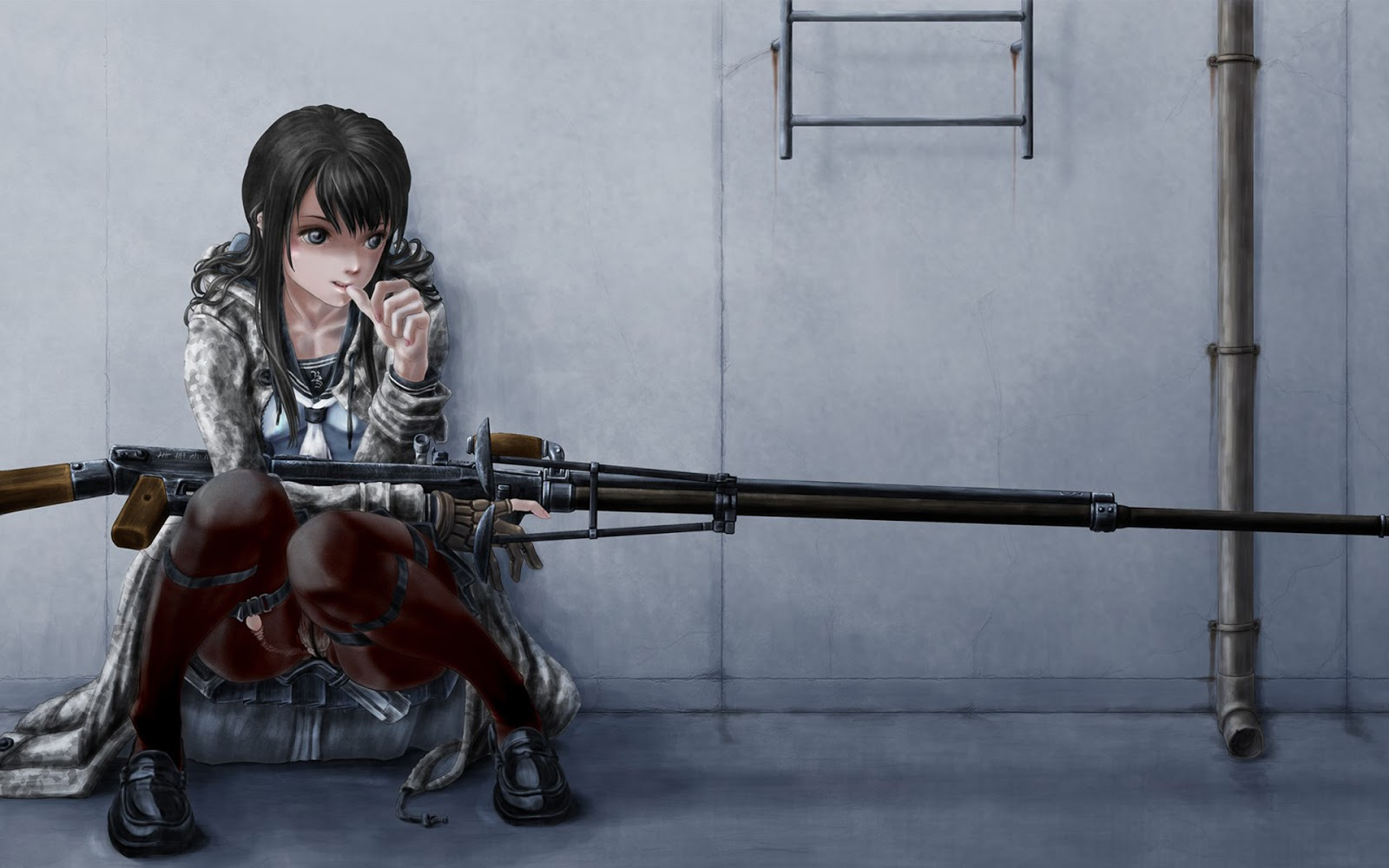 Anime Sniper Girl HD Wallpaper Desktop PC Background 1600x1000