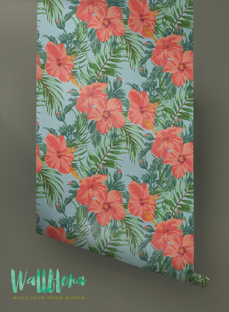 Hibiscus Wallpaper Pattern Removable Wallpaper Tropical 754x1024