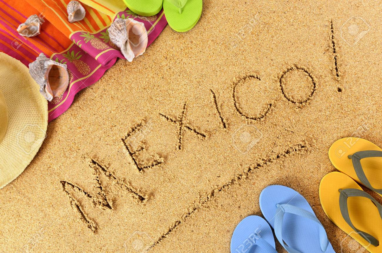 Mexico Beach Background With Towel And Flip Flops Stock Photo 1300x863