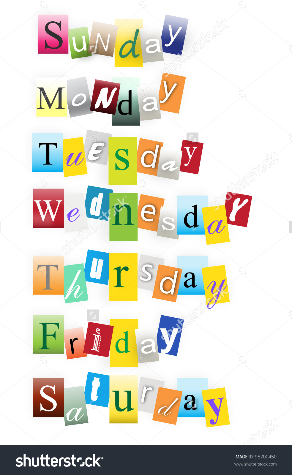 Days Of The Week On White Background Stock Photo 95200450 983x1600