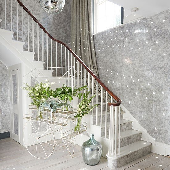 Create drama on a staircase with metallic wallpaper A disco ball 550x550