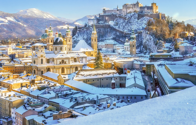 Wallpaper winter snow castle building mountain home Austria 1332x850