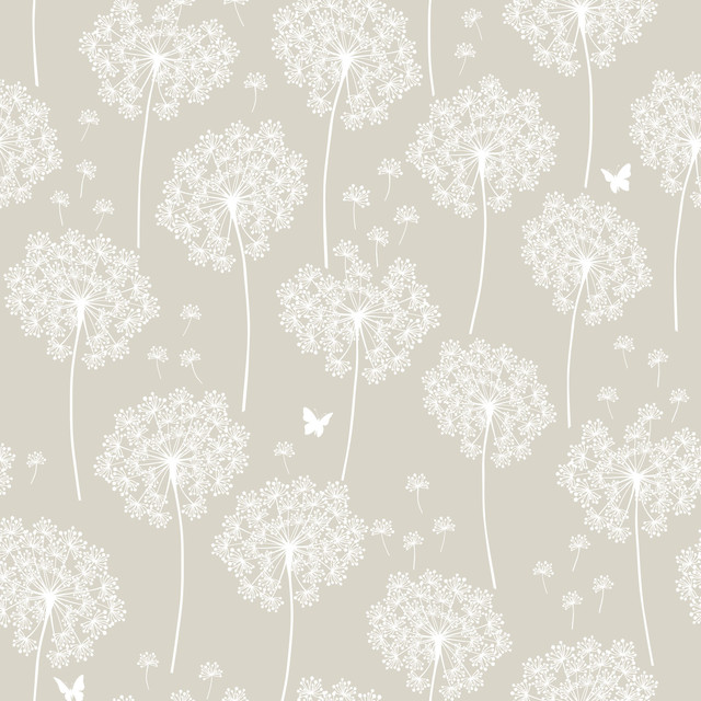 Taupe Dandelion Peel and Stick Wallpaper 4 Rolls farmhouse wallpaper 640x640