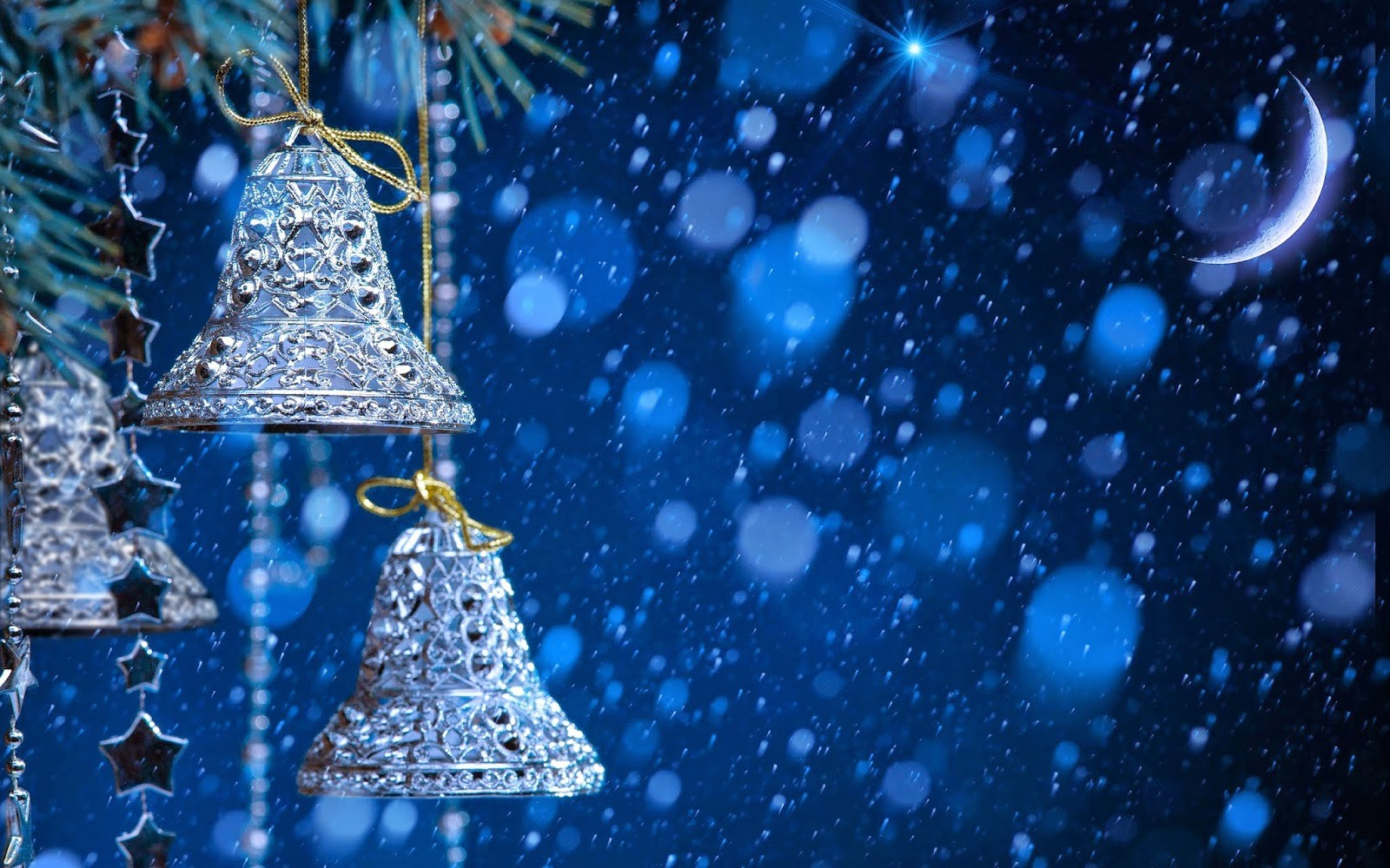 Merry Christmas jingle bells silver with snow fall blue background 1600x1000