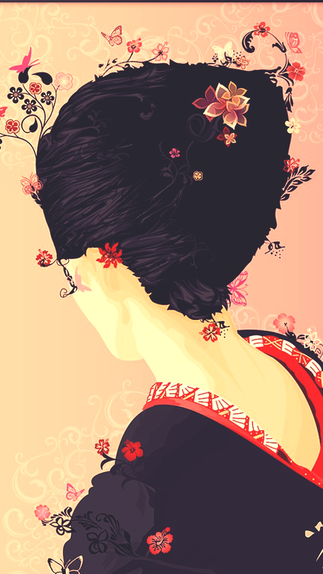Japanese Geisha Illustration Cherry Blossom Android Wallpaper 1080x1920