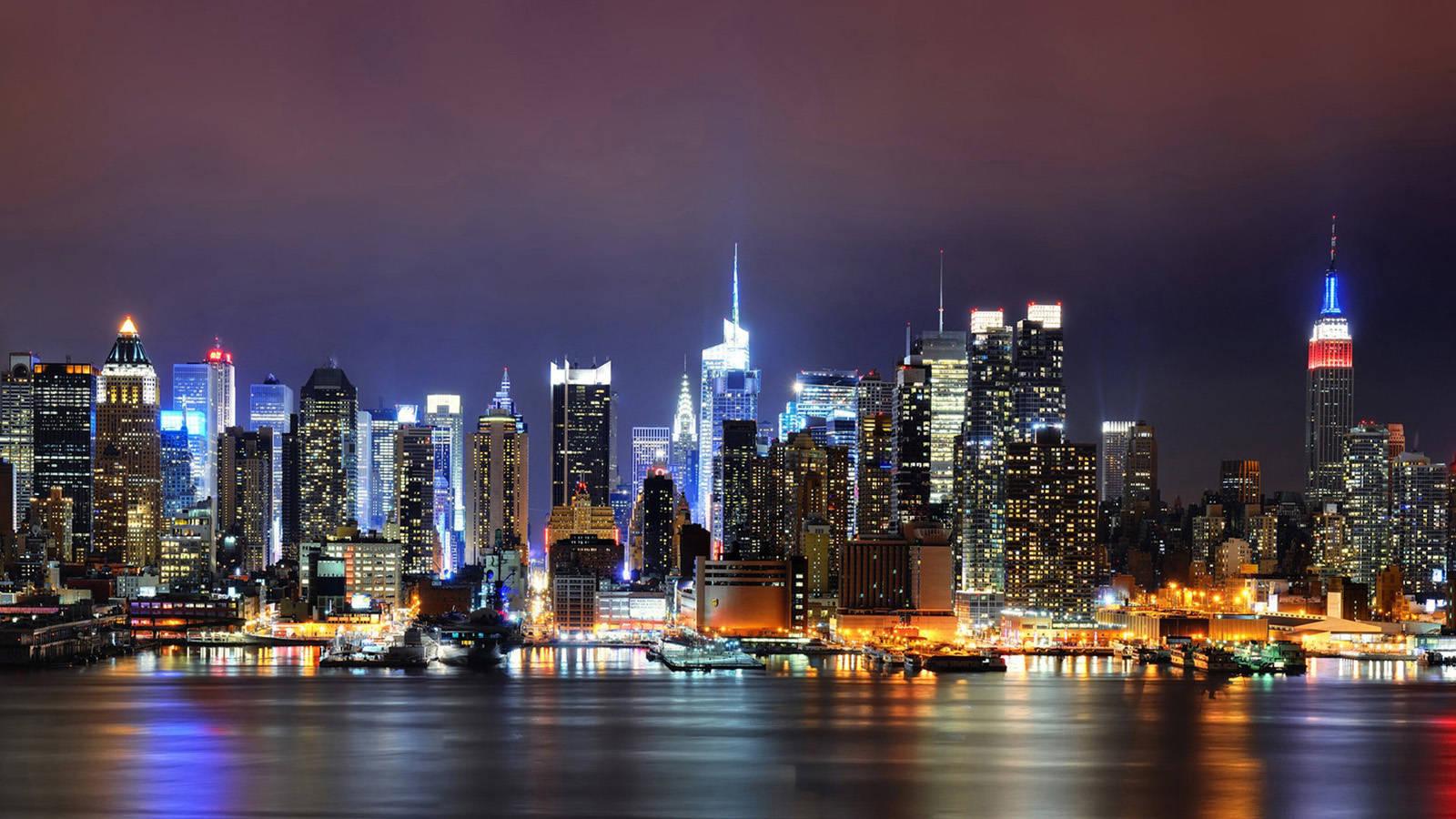 New York city light building wallpaper city wallpaper 1600x900