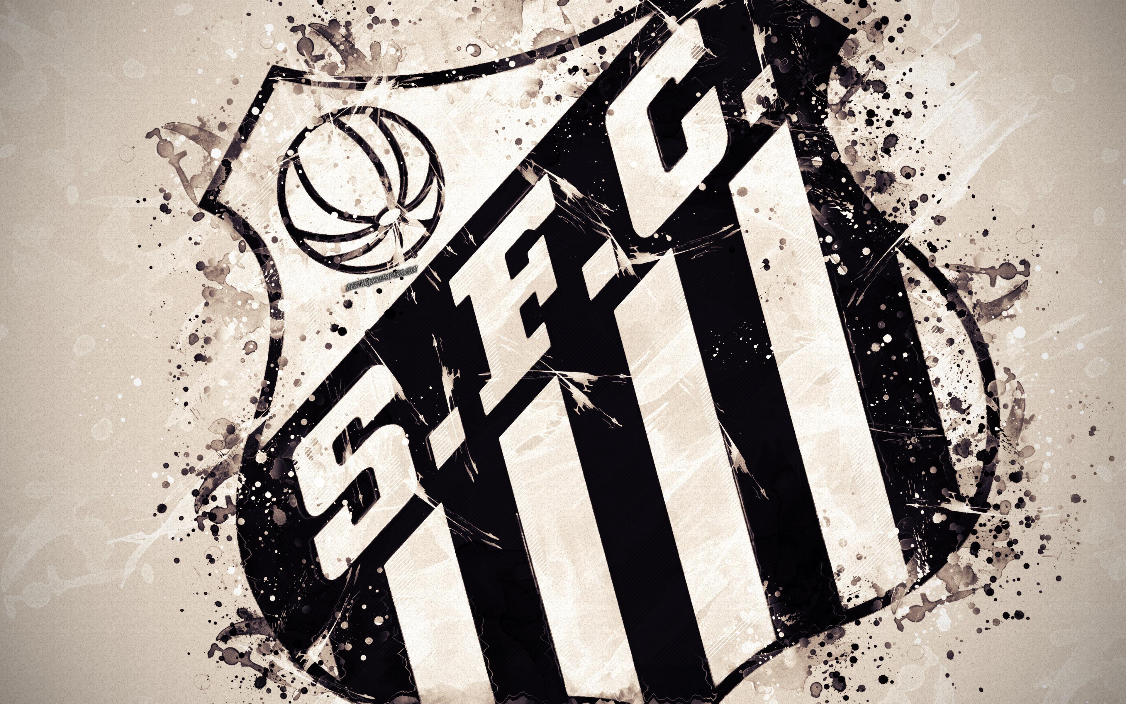 Download wallpapers Santos FC Santos Futebol Clube 4k paint art 3840x2400
