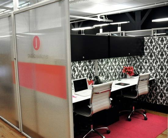 Chic bw cubicle wallpaper 550x451